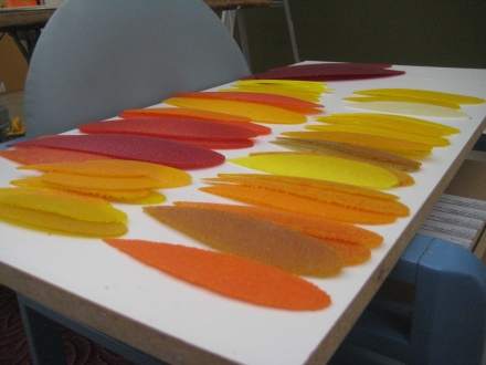 Feathers before wall installation