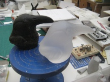 Solid-cast glass Crow head