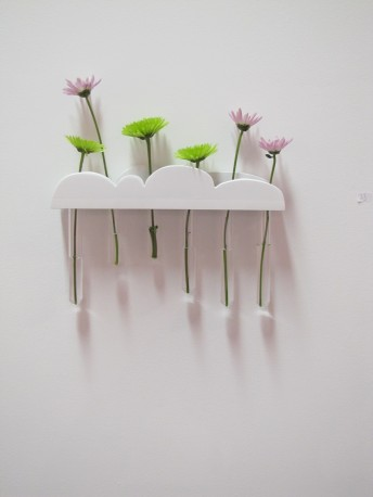 Jessie's tiny cloud time, wood, test tubes, flowers, water