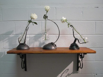 3 flower vases and shelf by Eric Smith