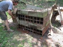 Foundation of old phone conduit and cinderblock.