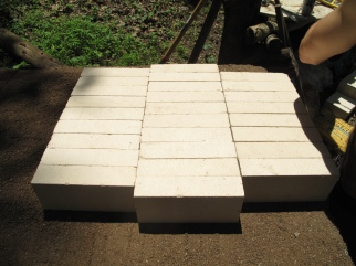 the brick floor, on sand and clay, on foundation